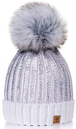 Sombrero de las Mujeres Gorro de invierno de para mujer con y pompón multicolor Círculo de Oro 4sold (White)