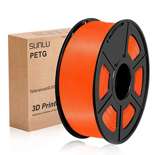 PETG 3D Printer Filament, SUNLU PETG Filament 1.75mm Dimensional Accuracy +/- 0.02 mm, 1 kg Spool, PETG Orange