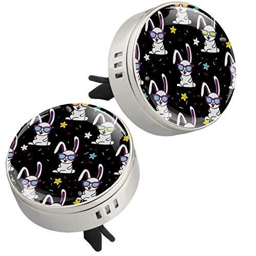 Z&Q 2 Piezas Difusor del Aceite Esencial del Aire del Coche Gafas de Conejo graciosas Clip de ventilación de Aromaterapia para Coche con 4 Estera 33.8mmX46.4mm