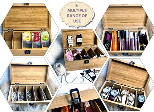 Bamboo Organizer Storage Box with Safety Lid and Latch for Gifts, Keepsakes, DIY Accessories with 4 pcs. Bamboo Bobbins for Embroidery Floss, Cross Stitch Thread, Friendship Bracelet String or Ribbon