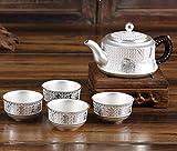 U/D Tetera de Plata SI999 Sterling Silver Kungfu Tea Set de Tetera portátil Taza de té de té de la Ceremonia de la Tetera Establecida for la Fiesta Mjzhxm (Color : AG s999 4 Piece Set, Size : Gratis)