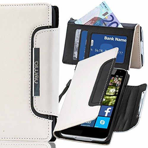 Nokia Lumia 735 Hülle, numia Handyhülle Handy Schutzhülle [Book-Style Handytasche mit Standfunktion & Kartenfach] Pu Leder Tasche für Nokia Lumia 735 Case Cover [Weiss-Schwarz]