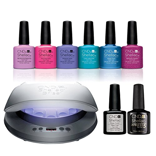 Cnd Shellac - Kit de iniciación para jardín, lámpara LED, base de gel y capa superior, 6 unidades
