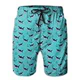 Jiger Cute Sharks Swimming Pattern Men's Beach Shorts Casual Classic Beachwear XL