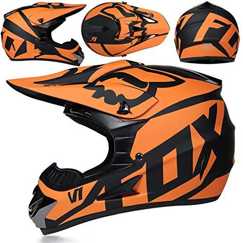 SISI Casco Motocross, Casco Moto Todoterreno para Niños, Dot Casco Rally para Hombres Mujeres con Gafas Máscara Guantes, Casco Protección Junior con Diseño Fox, Negro Mate Naranja,S