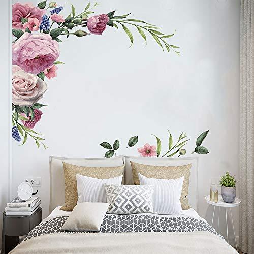 Große Pfingstrose Rose Wandaufkleber Diy Vintage Blumen Wallpaper für Schlafzimmer Wohnzimmer Abziehbilder Wandbild Home Decor Kid Girls Geschenk