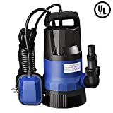 Yescom 1HP 3432GPH 750W Submersible Dirty Clean Water Pump Swimming Pool Pond Flood Drain Heavy Duty...
