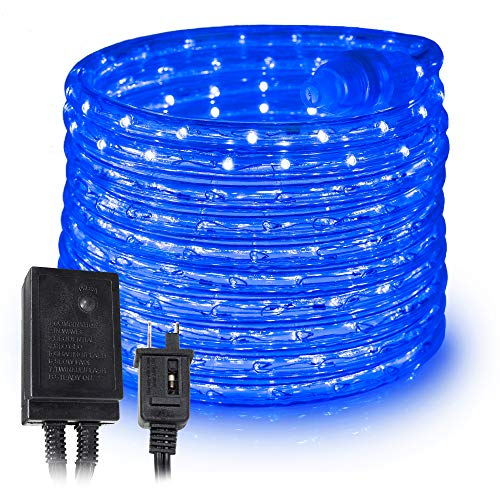 West Ivory 10', 25', 60', 150' ft (60' feet) Blue LED Rope Lights w/ 8 Mode Controller 2 Wire Accent Holiday Christmas Party Decoration Lighting