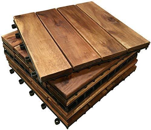 Lot de 6 dalles de terrasse en bois d'acacia à emboîter extra épais. 4 dalles à lattes pour terrasse, jardin, balcon, jacuzzi Dalles de terrasse carrées de 30 cm.