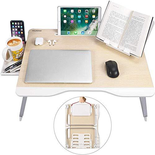 Mesa de Cama para computadora portátil Bandejas de Cama para Comer Computadoras portátiles Estudio de Escritura Soporte Plegable para computadora portátil con Soporte para Libros portátil