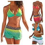 Bikinis Mujer Push Up 2019 con Estampado de Estilo étnico Sexy para Mujer Acolchadas Tankini Set Deportivo con Pantalones Cortos Bikini Traje de baño Ropa de Playa
