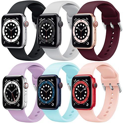 Correa Apple Watch 6 Paquetes, Correas Compatible con Apple Watch 38mm 42mm 40mm 44mm, Soft Silicone Sports Correa Suave de Deportiva Repuesto Compatible con Apple Watch SE/iWatch Serie 6 5 4 3 2 1