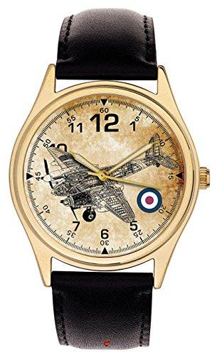 De Havilland Mosquito 633escuadrón RAF conmemorativa de la Guerra Mundial II especial modelo Sepia Art coleccionable de 40mm Reloj de pulsera