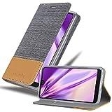 Cadorabo Hülle für WIKO View 2 PRO in HELL GRAU BRAUN - Handyhülle mit Magnetverschluss, Standfunktion & Kartenfach - Hülle Cover Schutzhülle Etui Tasche Book Klapp Style