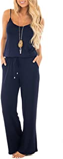 Women Summer Solid Sleeveless Wide Leg Jumpsuit Casual Spaghetti Strap Stretchy Long Pant Rompers