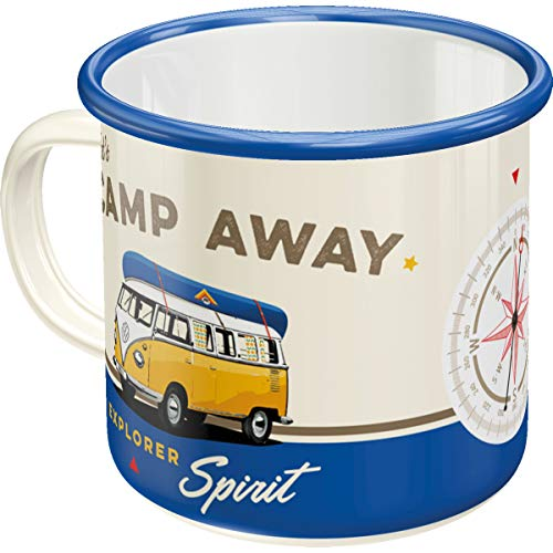 Nostalgic-Art, Retro Emaille-Tasse, Volkswagen Bulli T1 – Let's Camp Away – Geschenk-Idee für VW Bus Fans, Camping-Becher, Vintage Design, 360 ml