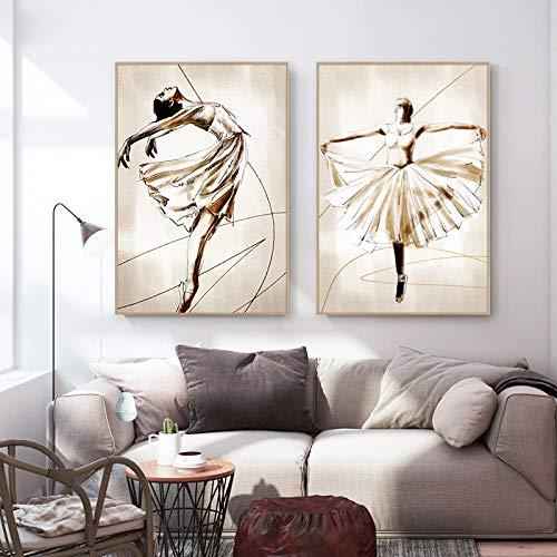 Balletto astratto Ragazza che balla Dipinti su tela Poster nordico Immagine di arte della parete per soggiorno Decorazione della sala da ballo -50x75cmx2 No Frame