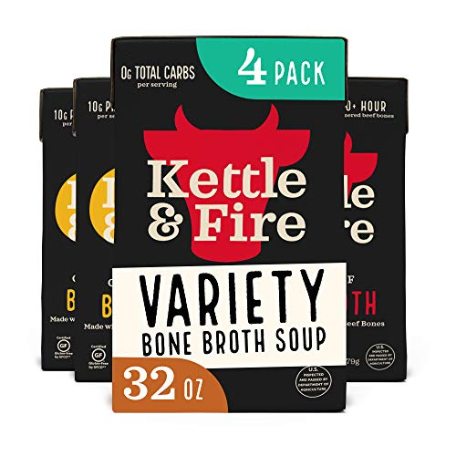 Bone Broth Variety Pack, Beef and Chicken by Kettle and Fire, 32oz For Cooking, Keto Diet, Paleo Friendly, Whole 30 Approved, Gluten Free, with Collagen, 10g of Protein (Pack of 4)