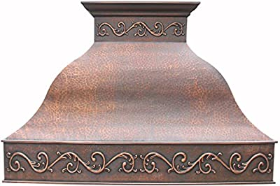 Sinda Copper Range Hood with Blower Custom Design Hammered Texture Antique Copper Patina H9LA