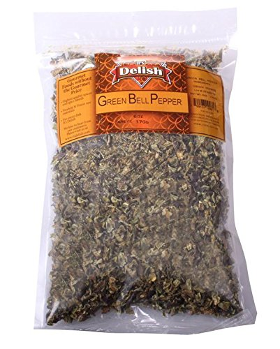 Dehydrated Dried Green Bell Pepper by It's Delish – 1 lb Bulk Bag – Sealed to Maintain Freshness – Chopped & Dried Vegetable Spice Seasoning