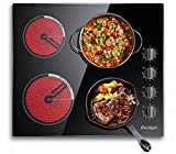 Electric Cooktop 24 inch,Electric Stove Top 4 burner,9 Heating Level, Knob Control, Auto Shut Down Protection