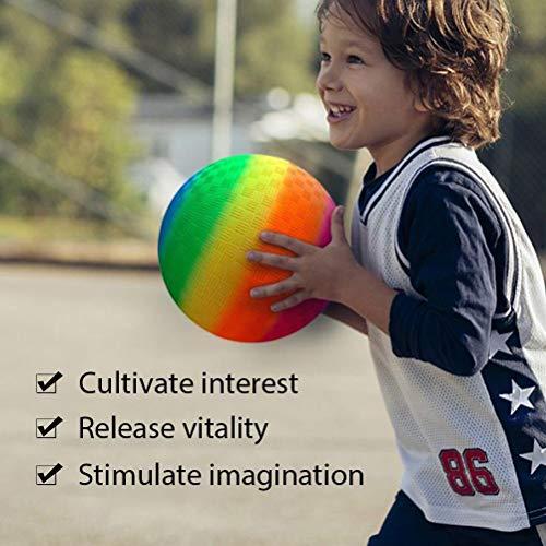 SASKATE Regenbogenspielplatz Ball, 8,5-Zoll Fußball für Kinder mit LED Lichtern, der in Hinterhofparks und bei Aktivitäten auf dem Unterhaltungsplatz am Strand verwendet Wird