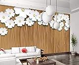 Papel pintado personalizado con textura de madera Origami blanco flores TV sofá fondo salón dormitorio fondo 3D papel de pared, No tejido., 300cmx210cm(118.1x82.7inch)