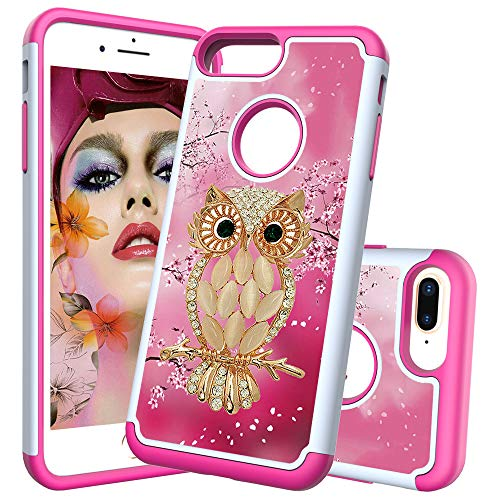 Heavy Duty Case for iPhone 7 Plus/8 Plus with Pattern,QFFUN Cute Owl Design Hard Plastic + Soft Silicone Hybrid Dual Layer Back Cover Shockproof Protective Case Bumper and Screen Protector