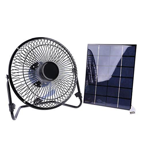 MYBOON Ventilador de Hierro con Carga USB/Alimentado por Panel Solar, Ventiladores de Aire de refrigeración de 8'para Viajes al Aire Libre, Pesca, Oficina en casa