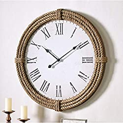 Oversized 30in Round 3D Nautical Rope Wall Clock Silent Non-Ticking Metal Hands Roman Numeral Analog Hanging Timepiece Coastal Farmhouse Decor