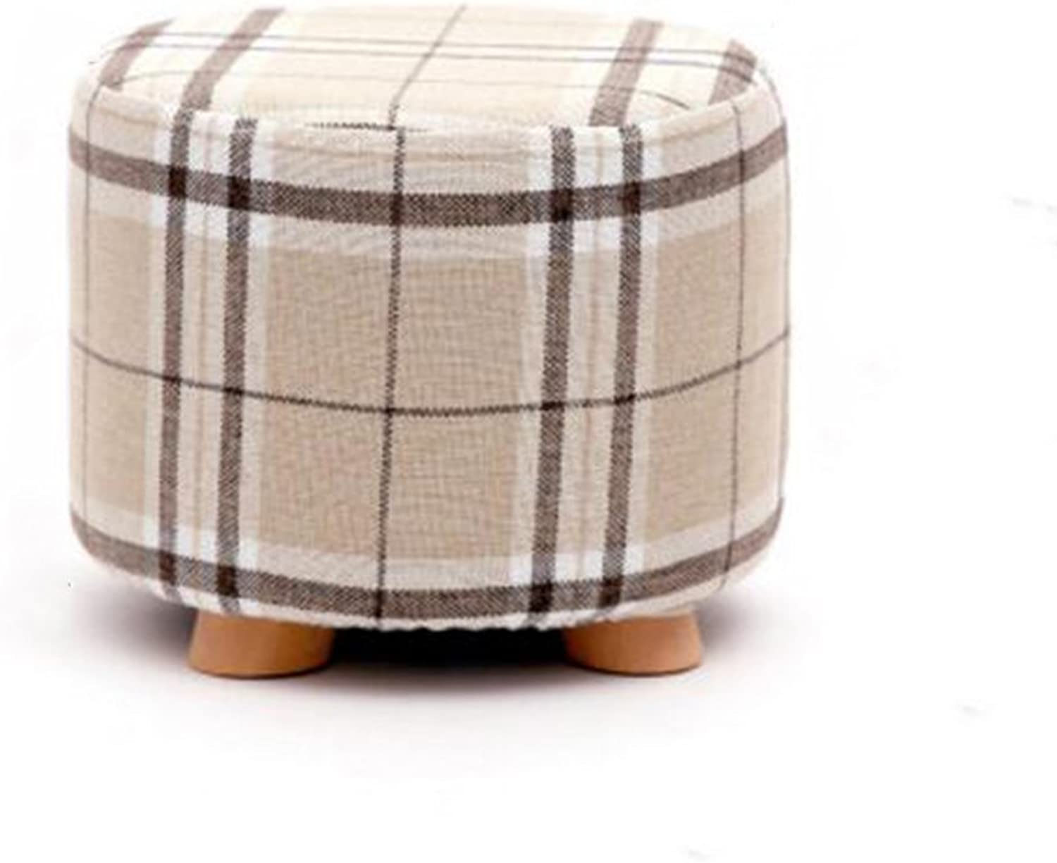 Sun Round Stool Sofa Stool Soft Cushion Solid Wood Cloth Surface shoes Stool (color   1)