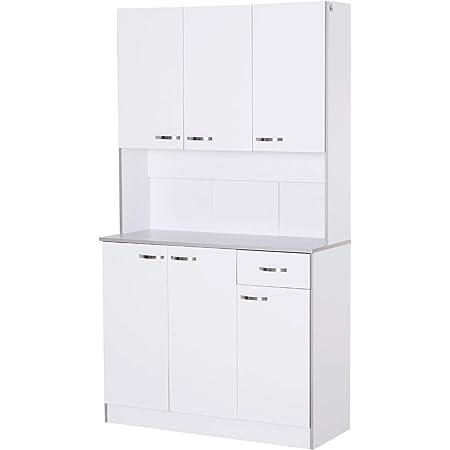 Armoire de cuisine contemporaine multi-rangements 6 portes 1 tiroir + grand plateau dim. 101L x 39l x 180H cm panneaux particules blanc gris