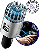 Craftronic NanoActive | Car Air Purifier & Dual Fast Charge USB | 5.6 Million Negative Ion Anti-Microbial, Eliminates PM 2.5 Smoke, Pollutants, Virus, Bacteria, Odors | Relieve Allergy (Silver)