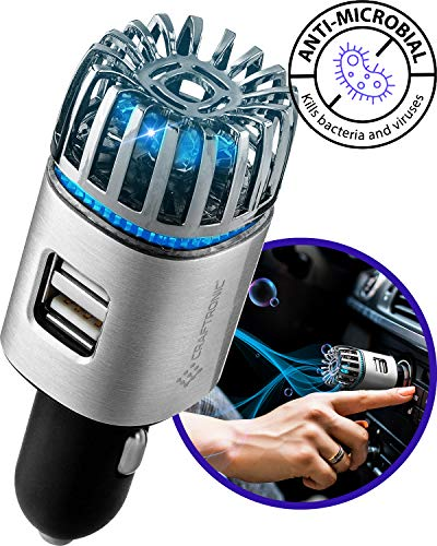 Craftronic® NanoActive™ | Car Air Purifier & Dual Fast Charge USB | 5.6 Million Negative Ion Anti-Microbial, Eliminates PM 2.5 Smoke, Pollutants, Virus, Bacteria, Odors | Relieve Allergy (Silver)