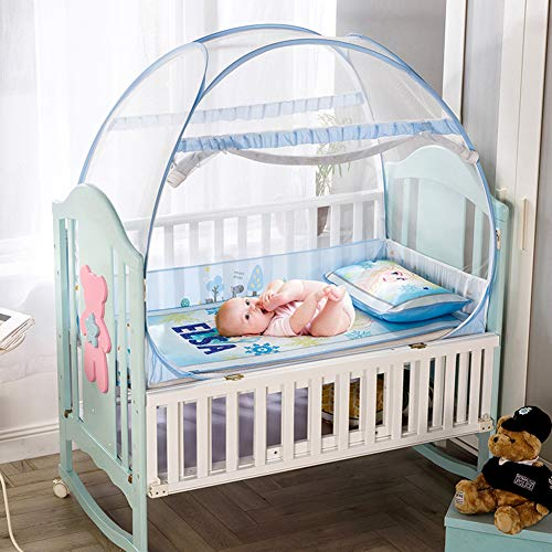 Ademende mug net wieg koepel, baby draagbare muggentent met rits, om fit baby rieten mand wieg Smaakloze veiligheid Bed luifel blauw 104x58x90cm (41x23x35inch)