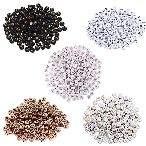 Zeayebsr 500 pezzi in 5 colori Acrilico Lettera Perline,Perline Lettere Alfabeto Mini Perline Acriliche per Braccialetti Collana Gioielli Bigiotteria Fai da Te