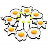Slomg 8pcs Set Fried Egg Rings Mold Non Stick for Griddle Pan, Egg Shaper Pancake Maker with Handle,...