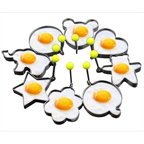 Set anelli per cottura uovo al tegamino di Slomg. 8 pezzi, antiaderente, stampi per pancake, biscotti, torte, formine in acciaio inox, gadget strumento da cucina