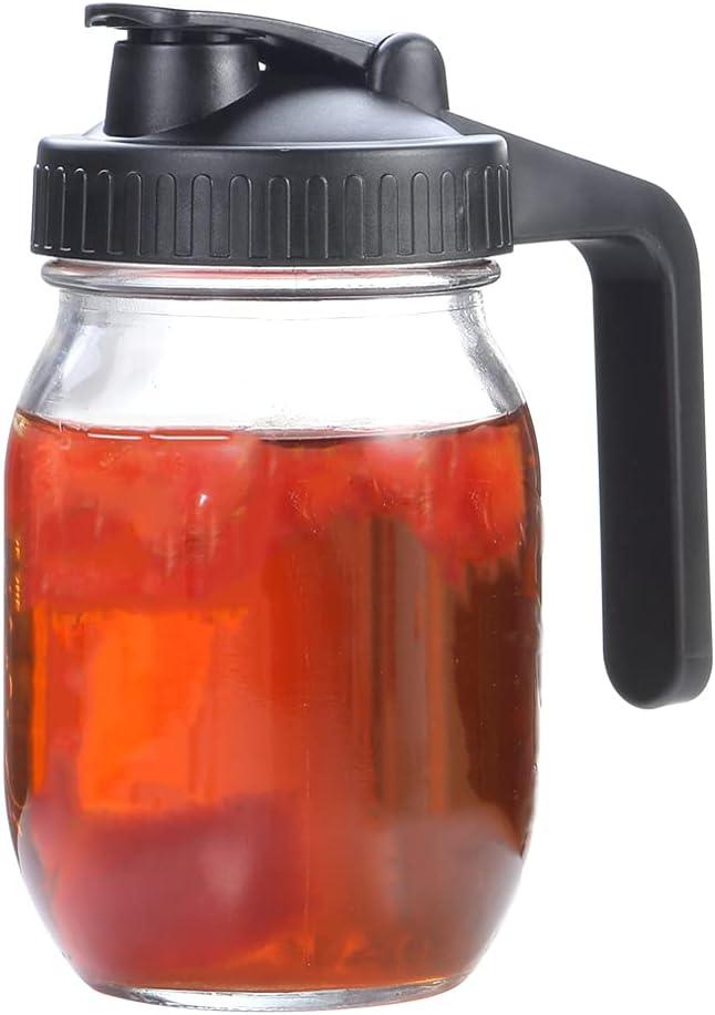 1L Heavy Duty Glass Regular Mouth Mason Jar Pitcher, 1Quart, 32oz