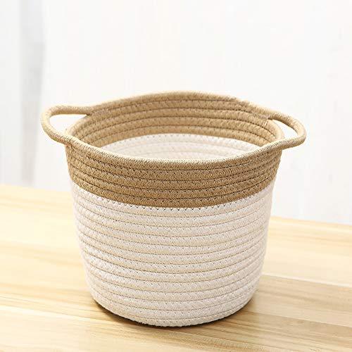 Zhuowei Aufbewahrungskörbe Tejido, Jute-Baumwoll-Aufbewahrungskorb, Bio-Baumwoll-Seil-Aufbewahrungskorb Für Haushaltswaren Kleidung Spielzeug,3
