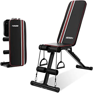 OneTwoFitトレーニングベンチ 多機能ダンベルベンチ 折り畳み 背筋 フラットベンチ スペース節約 マルチシットアップベンチ 耐荷重300KG