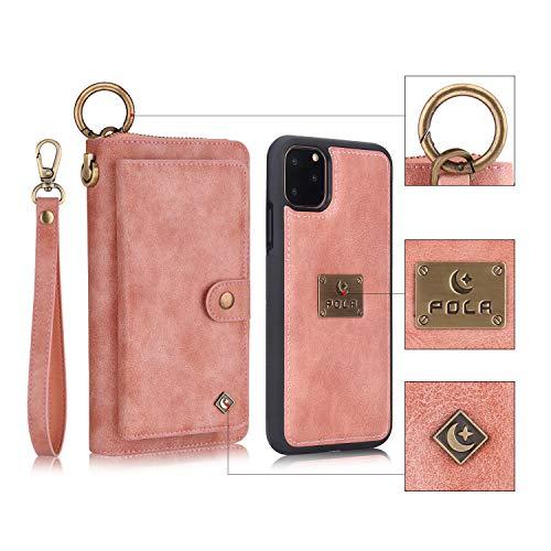 Funda para iPhone 11 Pro MAX Multifuncional Flip Folio Zipper Wallet Vintage magnético Funda Protectora de Cuero Tipo Desmontable Billetera con Ranuras para Tarjetas y Stand - Rosado