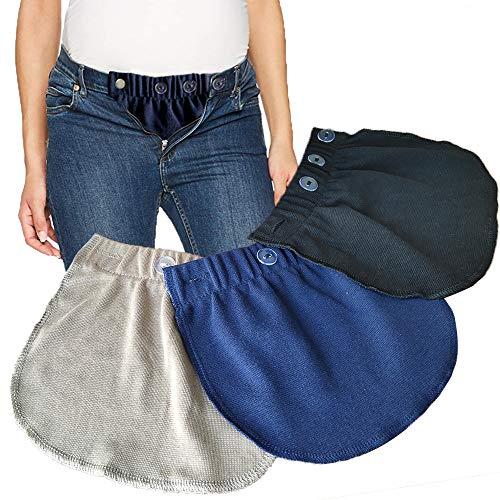 Alargador de Cintura para Embarazadas. Adapta tu Ropa de Siempre a Ropa para Embarazo y Premama Extensión de Cintura Ajustable para Mujeres Embarazadas, 3 Piezas (Negro, Azul y Caqui)