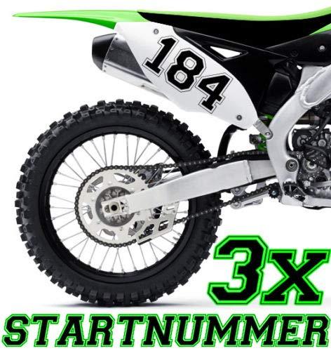 HR-WERBEDESIGN 3X Startnummer Wunschnummer Motorrad Motocross Aufkleber ATV MX Enduro Boot di