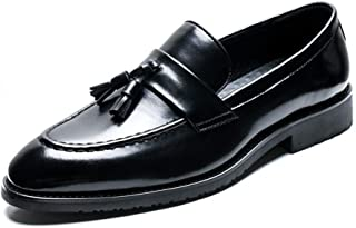 Bin Zhang Retro Oxfords for Men Tasseled Loafers Slip on Microfiber Leather Pointed Toe Stitching Block Heel Lightweight Soft Burnished Style (Color : Black, Size : 8 UK)