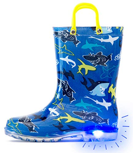 Outee Toddler Rain Boots Boys Kids Light Up Printed Waterproof Shoes Lightweight Cute Blue Shark with Easy-On Handles and Insole (Size 6,Blue)
