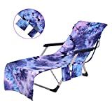 N/X Beach Lounge Chair Cover Beach Towel,with Side Pockets 82.5 X 29.5 inches Lounge Chair Outdoor Fiber Beach Towel Pool Lounge Chairs Beach Chair Cover, Long Strap Design Tie-Dye Blue