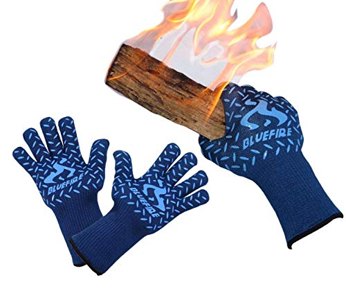 BlueFire Pro Heat Resistant Oven Grilling Welding Gloves -Great for Big Green Egg or Fireplace Accessories. Cut Resistant, Forearm Protection -100% Kevlar EN 407 Certified 932°F Heat Resistance by BlueFire