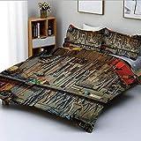 Juego de funda nórdica, herramientas vintage que cuelgan en una pared en un cobertizo para herramientas Equipo de fijación para taller Juego de cama decorativo de 3 piezas con 2 fundas de almohada, mu