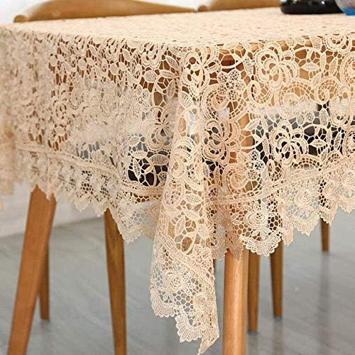 zcm Mantel bordado de café color rosa claro mesa de encaje estilo europeo mantel decoración del hogar mantel rectangular beige mantel 150x220cm (60x60)